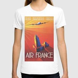 Vintage Mid Century Travel Poster Air France Jet African Islamic Mosque Monochrome Orange Sunset T-shirt
