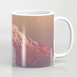 Snow-capped Mount Rainier at Dusk Painterly Photo Illustration Coffee Mug