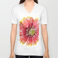 blanket V-neck T-shirts featuring Blanket Flower by Regan's World