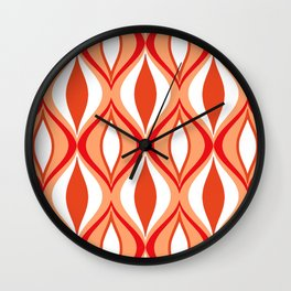 Mid-Century Modern Diamonds, Orange and White Wall Clock