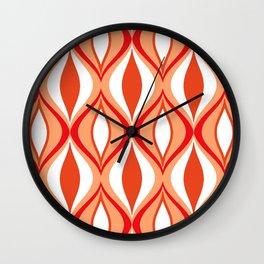 Mid-Century Modern Diamonds, Orange and White Wall Clock