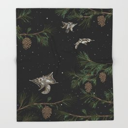 FLYING SQUIRRELS IN THE PINES Throw Blanket