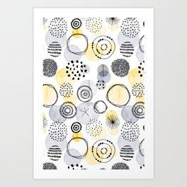 Watercolour Circles | Grey and Yellow Palette Art Print