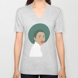 Woman with Hat Unisex V-Neck