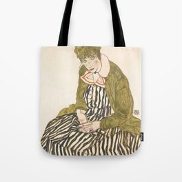 """Egon Schiele """"Edith with Striped Dress, Sitting"""" Tote Bag"""