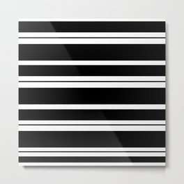 Black And White Stripes Metal Print