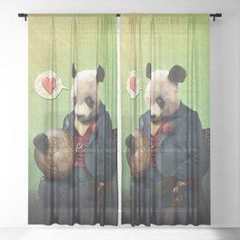Wise Panda: Love Makes the World Go Around! Sheer Curtain