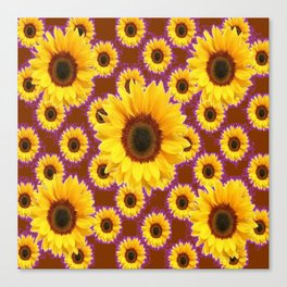 Brown & Violet Accents Color Sunflowers Pattern Canvas Print