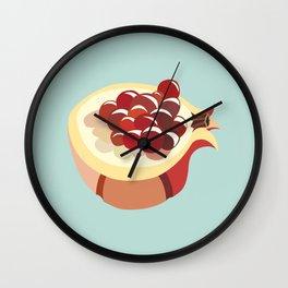 pomegranate fruit illustration Wall Clock