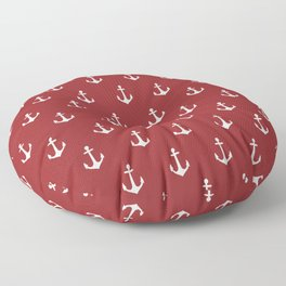 Maritime Nautical Red and White Anchor Pattern - Medium Size Anchors Floor Pillow