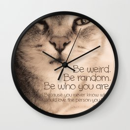 Wise Tabby Cat Wall Clock