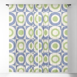Mid Century Square and Circle Pattern 541 Blue and Green Sheer Curtain