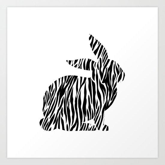 Rabbit with zebra print Art Print