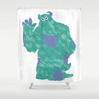 monster inc Shower Curtains featuring MONSTER INC. : SULLEY by DrakenStuff+