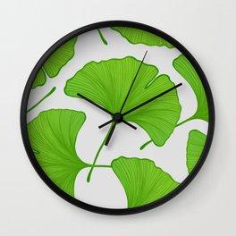Green Ginkgo Leaf Pattern Wall Clock