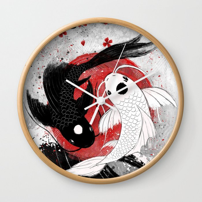 Koi Fish Yin Yang Wall Clock By Rubyartwork Society6