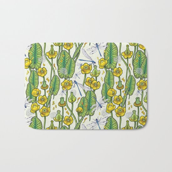 yellow water lilies and dragonflies Bath Mat