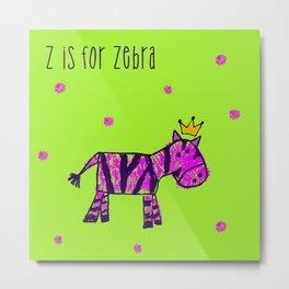 Z is for Zebra Metal Print