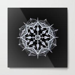 Snowflake on Black Metal Print