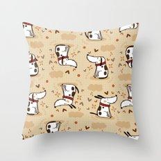 EMOTIONAL WHITE DOGGY  Throw Pillow