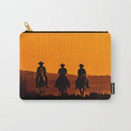 Wild West sunset - Cowboy Men horse riding at sunset Vintage west vintage illustration Carry-All Pouch
