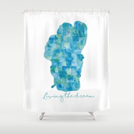 Living the Dream Lake Tahoe Watercolor Collage Shower Curtain