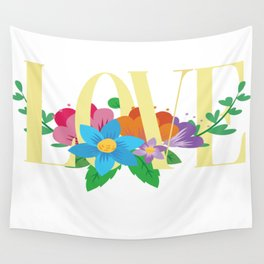 love vs floral Wall Tapestry