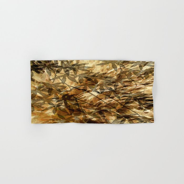 Golden Leaf Shadows Abstract Hand & Bath Towel