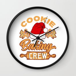 Xmas Cookie Baking Baker T-shirt Design Cookies Christmas December Collection Cookie Baking Crew Wall Clock
