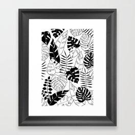 black and white tropical minimal leaves poster Framed Art Print