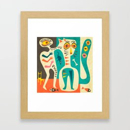 A Man who Loves his Cat Framed Art Print