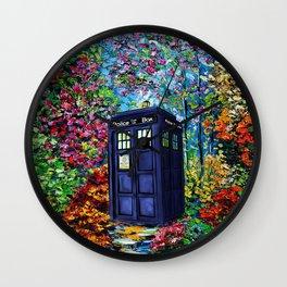 Tardis Flowers Painting Wall Clock