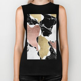 Modern white black marble rose gold foil color block handdrawn geometric lines Biker Tank