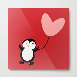 Penguin in love red Metal Print
