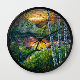 Sleeping Meadow - Colorado Moose Crossing by OLena Art Wall Clock