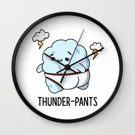 Thunderpants Cute Weather Pun Wall Clock
