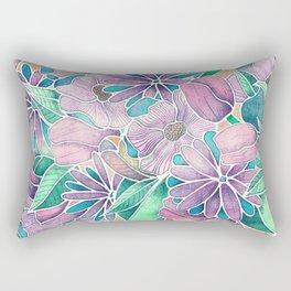 Blossoming - lilac, mint & aqua  Rectangular Pillow