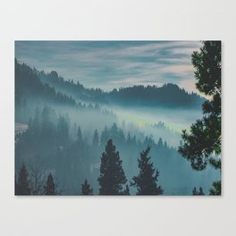 Misty Blue Watercolor Mountains Pine Trees Silhouette Minimalist Monochromatic Photo Canvas Print
