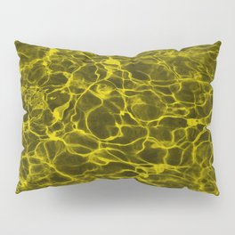 Highlighter Neon Yellow Underwater Wavy Rippling Water Pillow Sham
