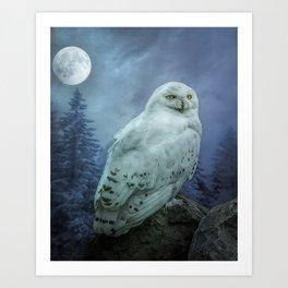 Moonlit Snowy Owl Art Print