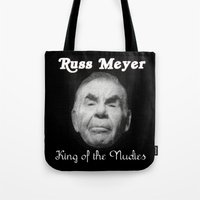 kevin russ Tote Bags featuring Russ Meyer Tribute Poster by Holland