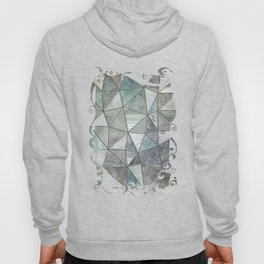 Teal And Grey Triangles Stained Glass Style Hoody