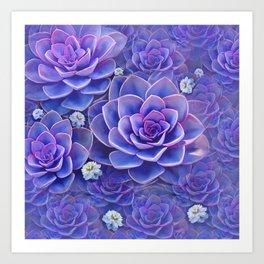 """""""Bouquet of pastel violet exotic succulents"""" Art Print"""