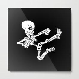 Kung fu Skull Metal Print