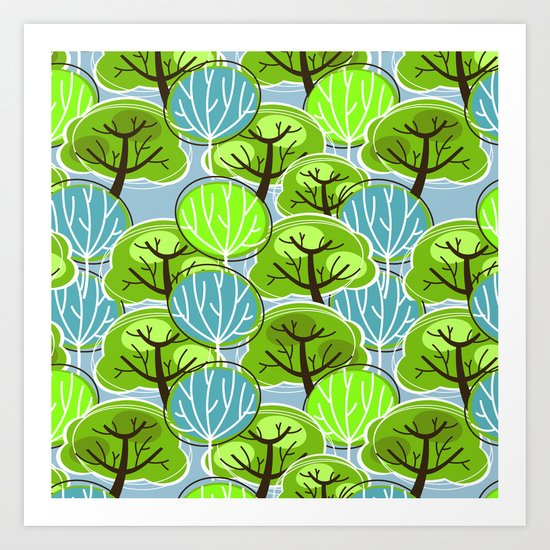 Retro Trees, in blue and green Art Print