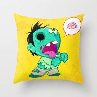 zombie Throw Pillows featuring zombie by Melissa Ballesteros Parada