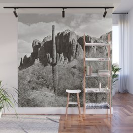 Saguaro in black and white Wall Mural