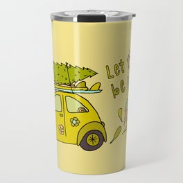 let there be waves for christmas surf art by surfy birdy Travel Mug