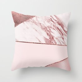 Spliced mixed pinks rose gold marble Throw Pillow