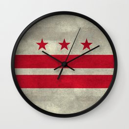 Washington D.C flag with worn vintage textures Wall Clock